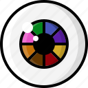color wheel, eye, eyeball, eyesight, rainbow, vision icon