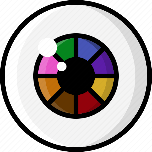Color Wheel Eye Eyeball Eyesight Rainbow Vision Icon