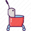 bucket, cleaning service, mop, single bucket, trolley icon