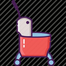 bucket, cleaning service, mop, single bucket, trolley icon