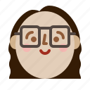 avatar, face, girl, head, profile, smile icon