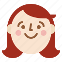 emotion, face, female, girl, head, profile, smile icon