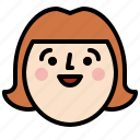 face, female, girl, head, profile, smile icon