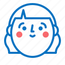avatar, emotion, face, girl, head, smile icon