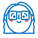 avatar, face, girl, head, profile, smile icon