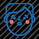 avatar, emotion, face, head, man, shock icon