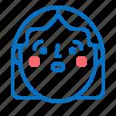 avatar, face, head, profile, shock, woman icon