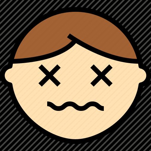 avatar, die, emoji, emotion, face, feeling icon