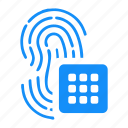 biometry, data, finger, password, pin icon