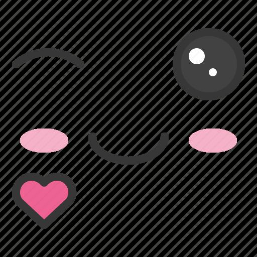 emoji, emoticon, emotion, face, love icon