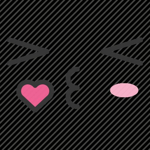 emoji, emoticon, emotion, face, kiss icon
