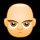 angry, bald