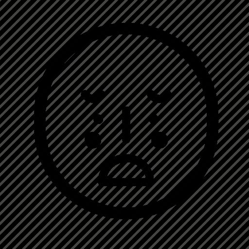 face, mad, mood, sad, unhappy icon