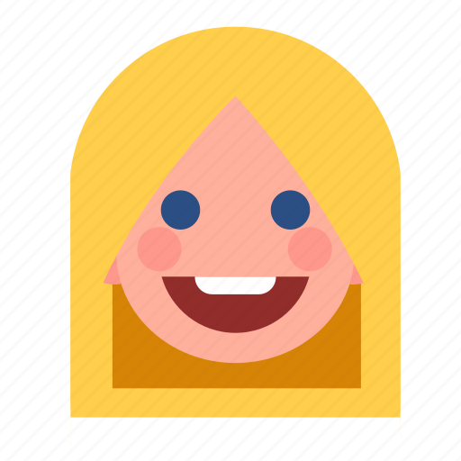 blonde, face, girl, happy, head, white, woman icon