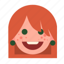 face, ginger, girl, head, redhead, white, woman icon