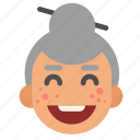 asian, face, grandma, happy, head, lady, old icon