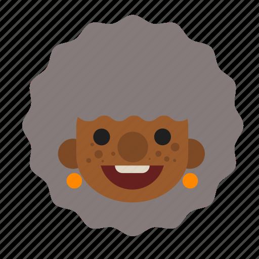 black, face, grandma, happy, head, lady, old icon