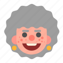 face, grandma, happy, head, lady, old, white icon