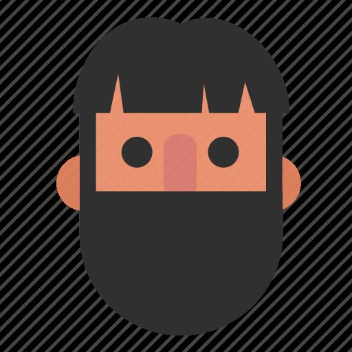 beard, face, guy, head, male, man, white icon