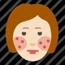cosmetology, face, health, problem, rash, skin, woman icon