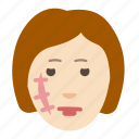 cosmetology, face, health, problem, scar, skin, woman icon