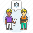1, blueprint, building, engineer, evaluation, factory, male, methodology, setting icon