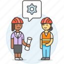 2, blueprint, building, engineer, evaluation, factory, female, methodology, setting icon