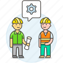 3, blueprint, building, engineer, evaluation, factory, male, methodology, setting icon