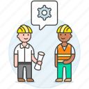 blueprint, building, engineer, evaluation, factory, male, methodology, setting icon