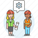 blueprint, building, engineer, evaluation, factory, female, methodology, setting icon