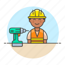 2, builder, contractor, driller, engineer, equipment, factory, male, mechanic, worker icon