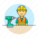 3, builder, contractor, driller, engineer, equipment, factory, male, mechanic, worker icon
