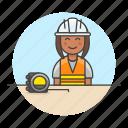 2, builder, contractor, driller, engineer, equipment, factory, female, flexometer, mechanic, worker icon