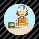3, builder, contractor, driller, engineer, equipment, factory, female, flexometer, mechanic, worker icon