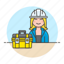 2, builder, contractor, engineer, equipment, factory, female, mechanic, toolbox, worker icon