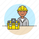3, builder, contractor, engineer, equipment, factory, male, mechanic, toolbox, worker icon