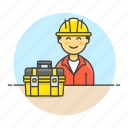 builder, contractor, engineer, equipment, factory, male, mechanic, toolbox, worker icon