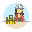 builder, contractor, engineer, equipment, factory, female, mechanic, toolbox, worker icon