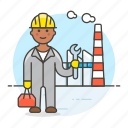 builder, plant, male, engineer, industry, production, worker, factory icon