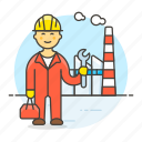 builder, engineer, factory, industry, male, plant, production, worker icon