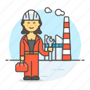 builder, engineer, factory, female, industry, plant, production, worker
