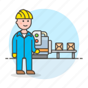 belt, box, conveyor, engineer, factory, industry, male, manufacturing, production, worker icon
