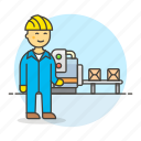 box, factory, conveyor, worker, manufacturing, industry, engineer, male, production, belt icon