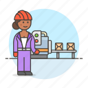 belt, box, conveyor, engineer, factory, female, industry, manufacturing, production, worker icon