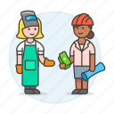 foreman, worker, payment, female, engineer, builder, welder, supervisor, deal, factory icon