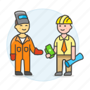 payment, supervisor, male, builder, worker, welder, factory, foreman, engineer, deal icon