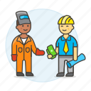 builder, deal, engineer, factory, foreman, male, payment, supervisor, welder, worker icon
