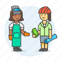 builder, deal, engineer, factory, female, foreman, payment, supervisor, welder, worker icon