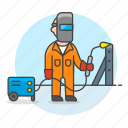 1, building, engineer, factory, machine, male, metal, steel, structure, welder, welding icon