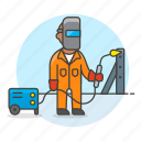 building, engineer, factory, machine, male, metal, steel, structure, welder, welding icon